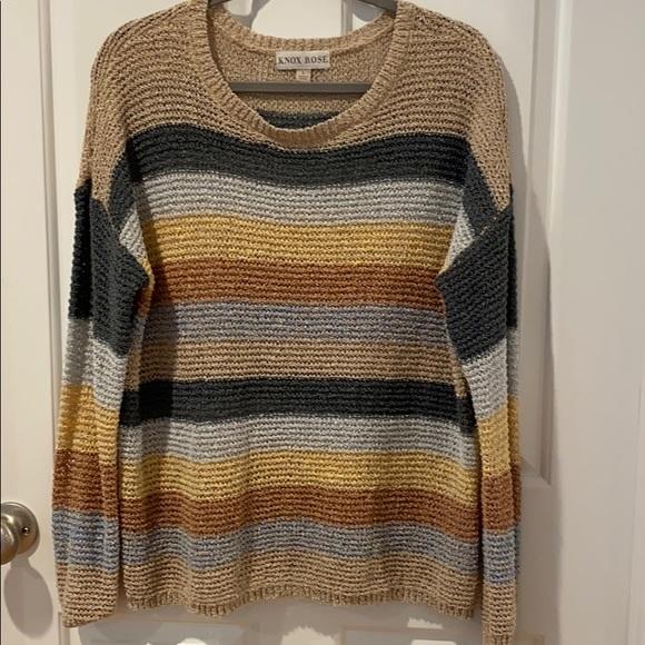 Knox Rose Striped Lightweight Sweater Sz Large